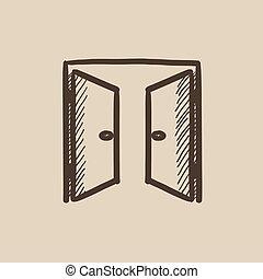 スケッチ, 開いた, icon., ドア