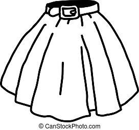 スケッチ, 隔離された, イラスト, 手, ベクトル, 背景, 引かれる, 白, スカート