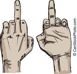 スケッチ, 離れて, ショー, 性交, イラスト, 手, finger., 中央, ベクトル