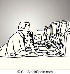 スケッチ, 電話, スクリーン, コンピュータ, きたない, テーブル, いたずら書き, concept., 隔離された, バックグラウンド。, 黒, レトロ, 引かれる, 彼の, ビジネス 実例, 手, 机, 使うこと, 灰色, ライン, ベクトル, ビジネスマン