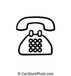 スケッチ, 電話, icon.