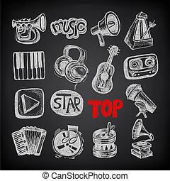 スケッチ, 音楽, アイコン, 要素, コレクション, 上に, 黒い背景
