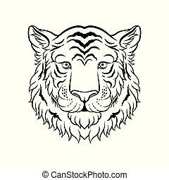 スケッチ, 頭, トラ, イラスト, 顔, ベクトル, 黒, 動物, 野生, 引かれる, 白, 手