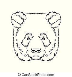 スケッチ, 頭, 熊, イラスト, 顔, ベクトル, 黒, 動物, 野生, 引かれる, 白, 手, パンダ