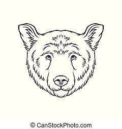 スケッチ, 頭, 熊, イラスト, 顔, ベクトル, 黒, 動物, 野生, 引かれる, 白, 手