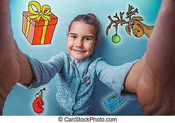 スケッチ, 鹿, 女の子, 作成, 新年, 十代, 写真, 自己, クリスマス, ミトン, 贈り物