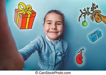 スケッチ, 鹿, 女の子, selfie, 作成, 新年, 十代, 写真, クリスマス, ミトン, 贈り物