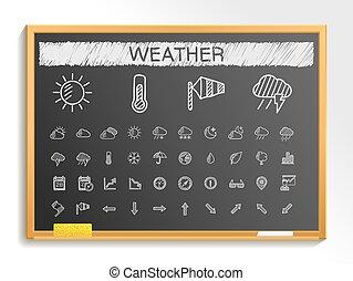 スケッチ, 黒板, icons., 手, チョーク, 天候, イラスト, 線, 印, 図画