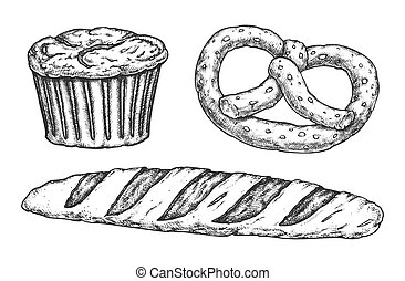 スケッチ, baguette, レーズン, ケーキ, kringle