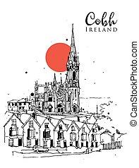 スケッチ, cobh, 図画, イラスト, アイルランド