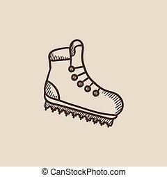 スケッチ, crampons, ブーツ, icon., ハイキング