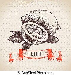 スケッチ, eco, lemon., 手, 食物, フルーツ, 背景, 引かれる