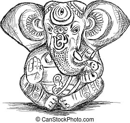 スケッチ, ganesha, ヒンズー教信徒, -, イラスト, ベクトル, 神
