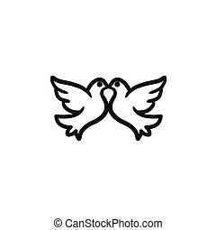 スケッチ, icon., 鳩, 結婚式