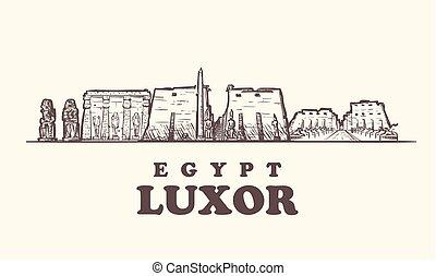 スケッチ, illustration., エジプト, 型, ベクトル, スカイライン, ルクソール