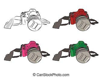 スケッチ, illustration., カメラ, バックグラウンド。, ベクトル, 白