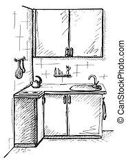 スケッチ, illustration., ベクトル, cuisine., 計画, 線, style., 台所