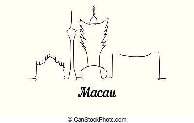 スケッチ, illustration., マカウ, スタイル, 1(人・つ), ベクトル, 線