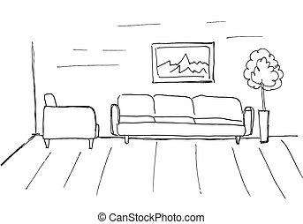 スケッチ, illustration., 線である, ベクトル, interior., plan., 部屋