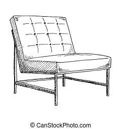 スケッチ, illustration., 隔離された, バックグラウンド。, ベクトル, chair., 白