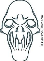 スケッチ, illustration., 頭骨, 隔離された, バックグラウンド。, ベクトル, 黒, 白, tattoo., 株