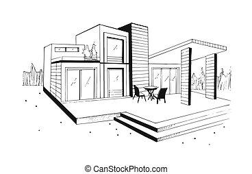 スケッチ, illustration., villa., 住宅の, 現代, house., 私用, 手, 黒, 引かれる, 白