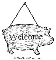スケッチ, imitation., 印, 彫版, welcome., 形, 豚, illustration., ベクトル...