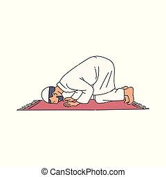 スケッチ, isolated., muslim, スタイル, イラスト, ベクトル, 祈ること, 宗教, 人