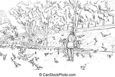 スケッチ, pegions, ショー, chiangmai, イラスト, ベクトル, タイ, 都市の景観, 門, phae, 観光事業, tha