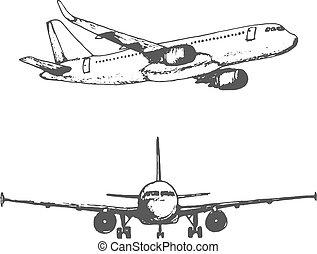 スケッチ, plane., 2, イメージ, 隔離された