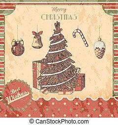 スケッチ, poster., クラシック, 贈り物, 年, style., カード, 型, -, バックグラウンド。, 引かれる, 装飾, クリスマス, レッドグランジ, イラスト, 手, 新しい, 有色人種, 木, ∥あるいは∥, ベクトル, 緑, クリスマス