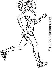 スケッチ, runner., イラスト, ベクトル, 女性, マラソン