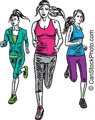 スケッチ, runners., イラスト, ベクトル, マラソン, 女性