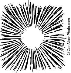 スケッチ, starburst, 隔離された, イラスト, 手, ベクトル, 背景, 引かれる, 白