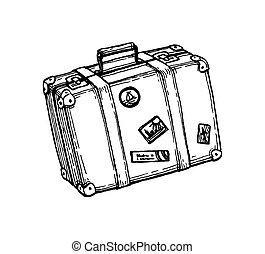 スケッチ, suitcase., インク