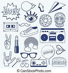 スケッチ, symbols., アイコン, 型, sheet., まっすぐにされた, ノート, レトロ, サイン, 漫画