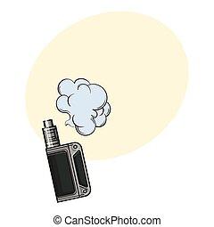 スケッチ, vape, イラスト, 手, 煙, 引かれる, 装置, vaping, 雲