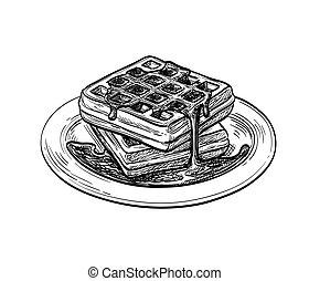 スケッチ, waffle., インク