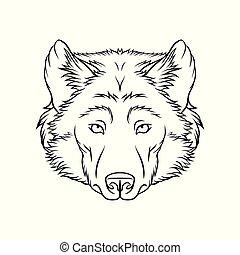 スケッチ, wolfs, イラスト, 手, ベクトル, 黒い森林, 動物, 肖像画, 引かれる, 白, 頭