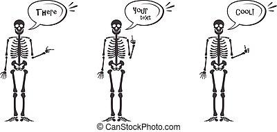スケルトン, 手, ジェスチャー, set:, オーケー, 指, の上, 指, 下方に, 握りこぶし, 中指, ロックンロール, 角, 叩くこと, やし, そして, 他, emoji., 人間の 骨組, ポーズを取る, 隔離された, 白, 背景, ベクトル, illustration.
