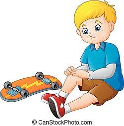 スケーター, 悲しい, スケートボード, 彼の, 漫画, 落ちる