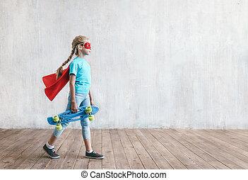 スケートボード, わずかしか, 極度, 女の子