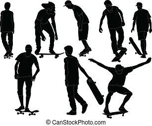 スケートボード, ベクトル, -, コレクション
