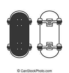 スケートボード, 古い, バックグラウンド。, ベクトル, セット, 白