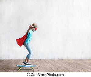 スケート, わずかしか, スタジオ, 女の子