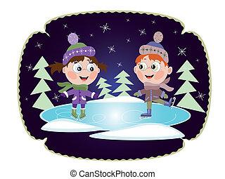 スケート, わずかしか, winter:, 女の子, 氷