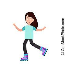 スケート, イラスト, ベクトル, 女の子, 白, ローラー
