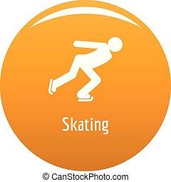 スケート, オレンジ, ベクトル, アイコン