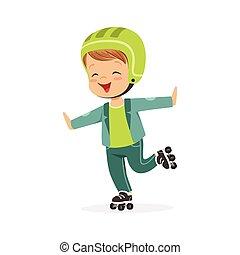 スケート, カラフルである, 特徴, rollerblades, 男の子, ベクトル, イラスト, ローラー, 子供