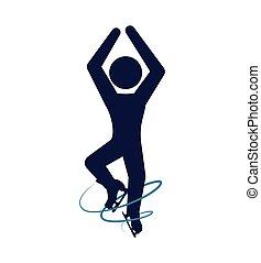 スケート, グラフィック, シルエット, 冬, スケート, 人, ベクトル, 靴, icon.